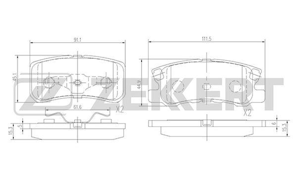 колодки тормозные задние CITROEN C4 Aircross 12-, C-Crosser 08-, MITSUBISHI ASX 10-, Outlander 03-12, Pajero IV 06-, PEUGEOT 4007  07-13 4008