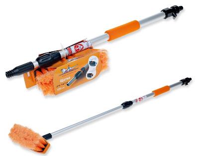 Швабра с насадкой для шланга, щеткой 20см и телескопической ручкой 70-100см  (AB-H-04)
