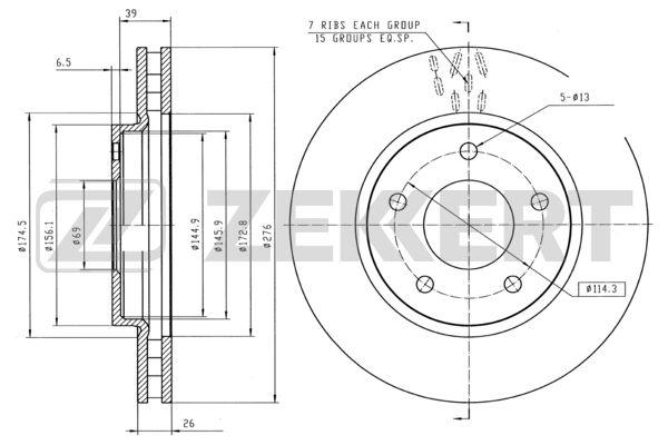 диск тормозной передний MITSUBISHI ASX 10-, LANCER 10 07- DODGE Caliber