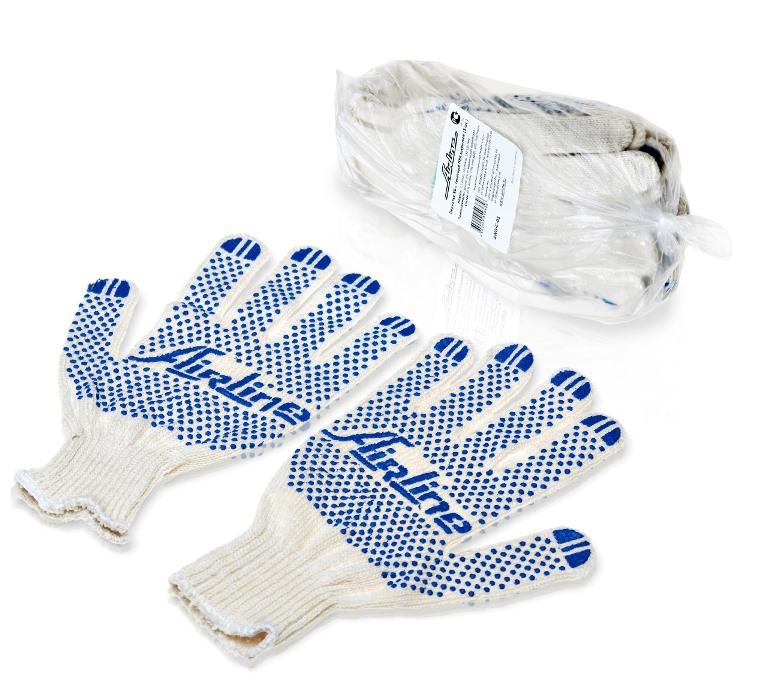 Перчатки ХБ с ПВХ покрытием, белые, (5 пар), 150Т/7,5 класс (AWG-C-01)