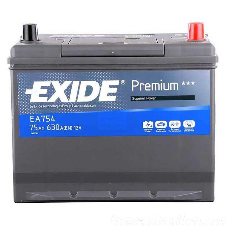 EXIDE EA754 PREMIUM аккумуляторная батарея  19.5/17.9 евро 75Ah 630A 272/170/225\