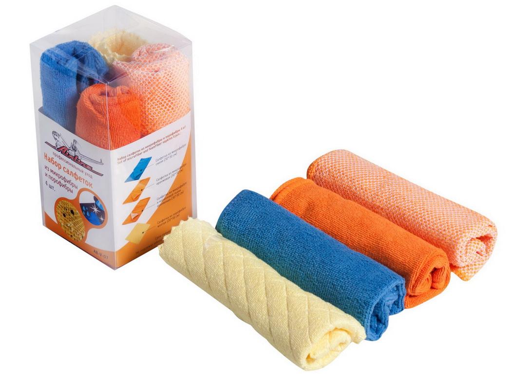 Набор салфеток из микрофибры (3 шт., 30*30 см) + порофибра (1 шт., 20*18 см)  (AB-V-07)