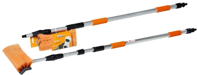 Швабра с насадкой для шланга, щеткой 25см и телескопической ручкой 160-300см   (AB-H-05)
