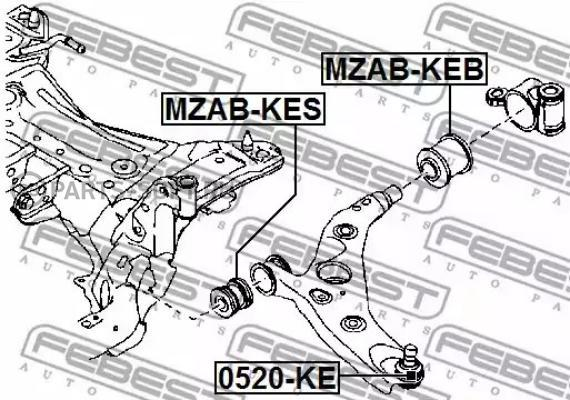 MZABKEB сайлентблок переднего рычага задний без кронштейна Mazda 3 BM 13 mzabkeb