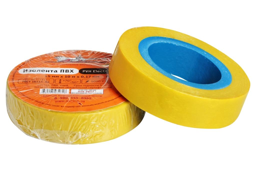 Изолента ПВХ, желтая, 15 мм*10 м (AIT-P-06)