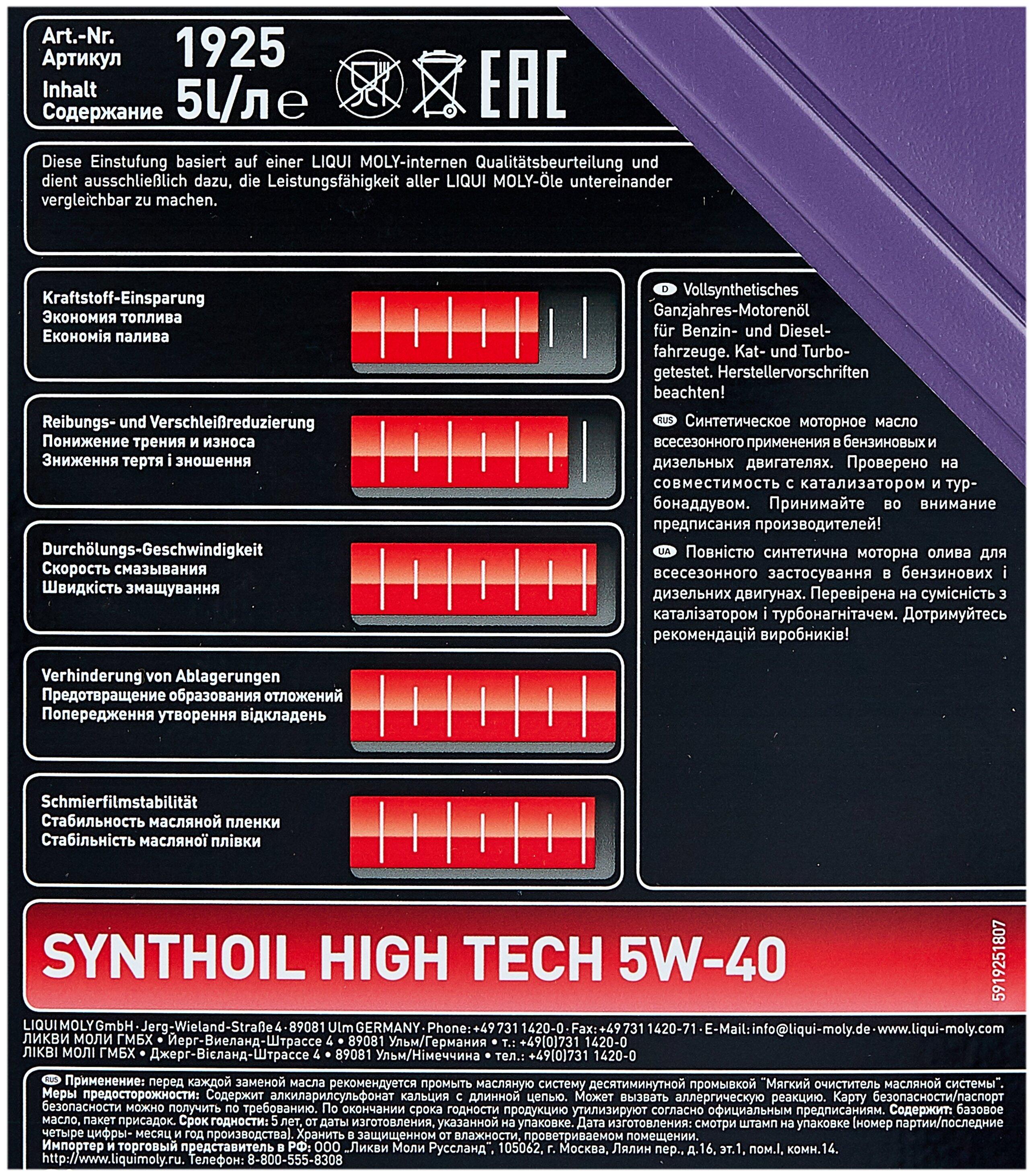 Liqui Moly Synthoil High Tech SAE 5W-40
