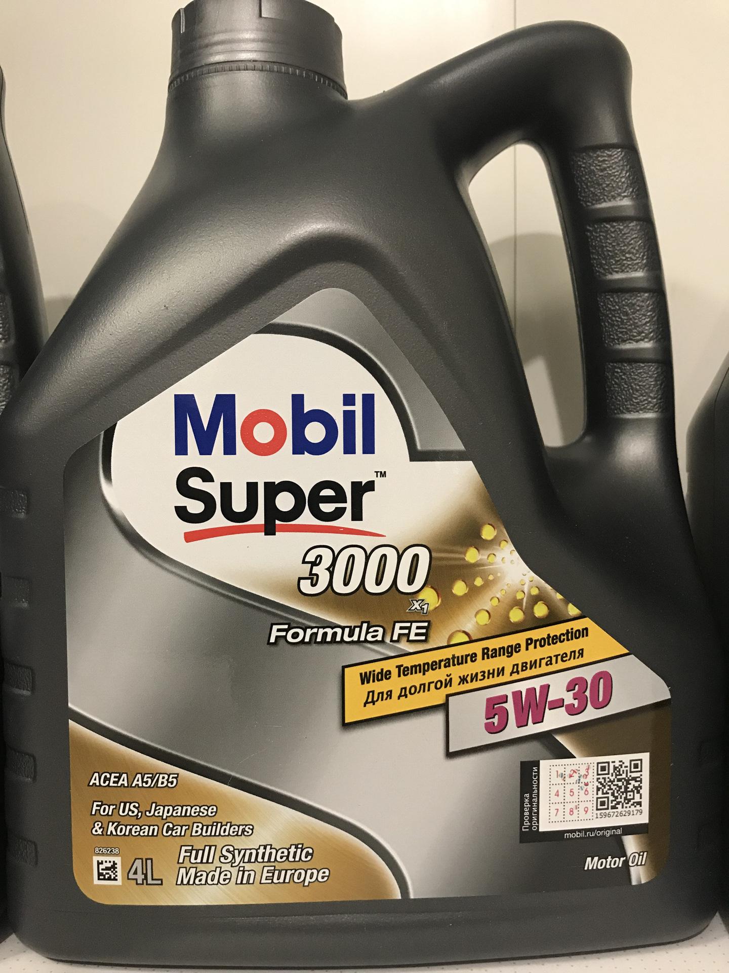 """Масло моторное """"MOBIL Super 3000 X1 Formula FE 5W-30 API SL;CF;ACEA A5/B5"""", 4л"""