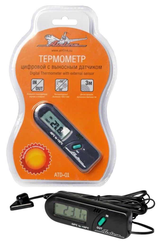 Термометр цифровой с выносным датчиком IN/OUT (ATD-01)