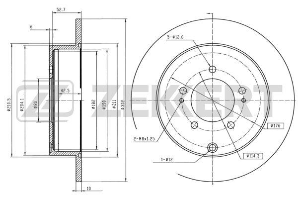 диск тормозной задний (полный привод) Citroen C-Crosser 07-, Mitsubishi Outlander XL 06-12, Peugeot 4007 (GP) 07-