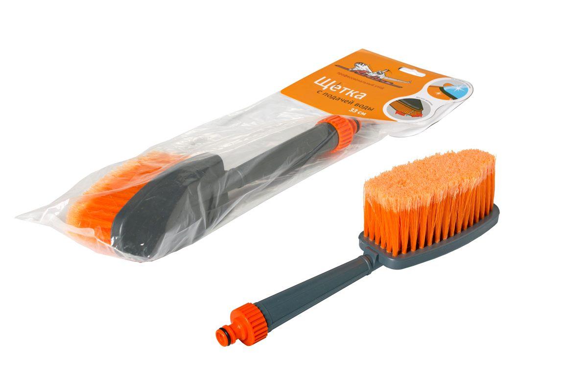 Щетка для мытья с насадкой для шланга, с мягкой распушенной щетиной (33 см)  (AB-J-02)