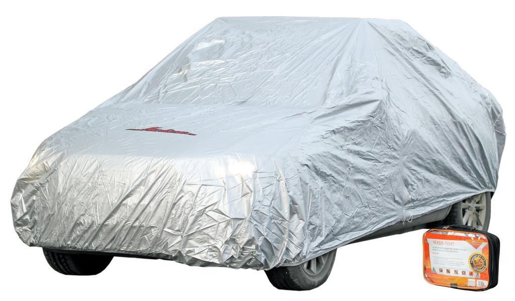Чехол-тент на автомобиль защитный, размер S (455х186х120см), цвет серый, молния для двери, универсальный (AC-FC-01)