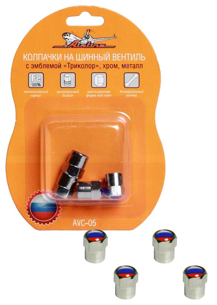 Колпачки на шинный вентиль, с эмблемой «Триколор», 4 шт.  (AVC-05)