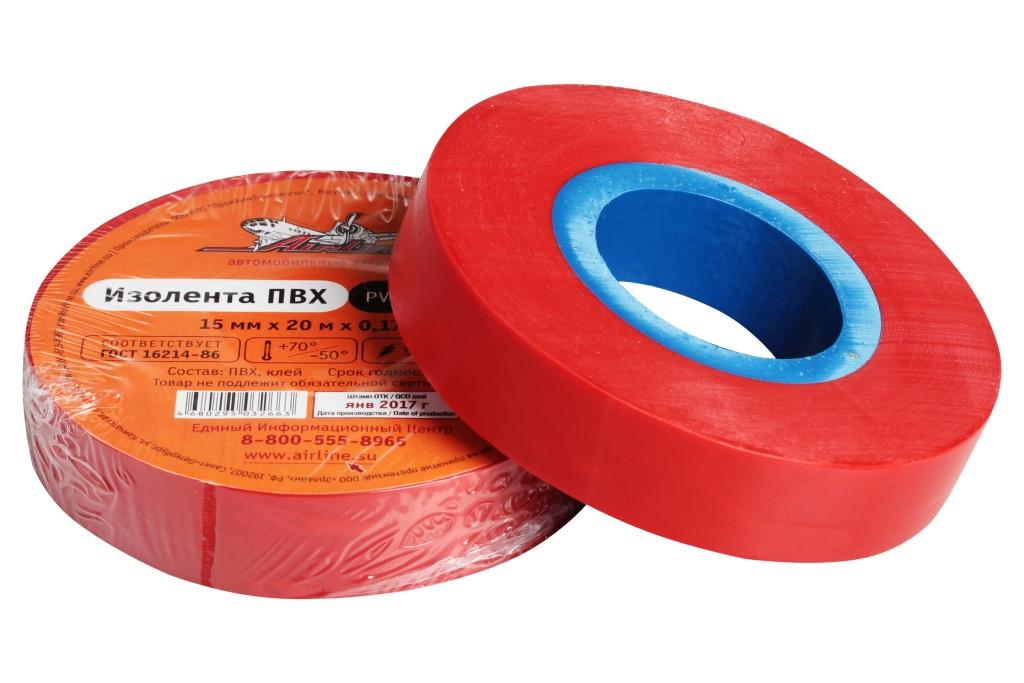 Изолента ПВХ, красная, 15 мм*20 м (AIT-P-09)