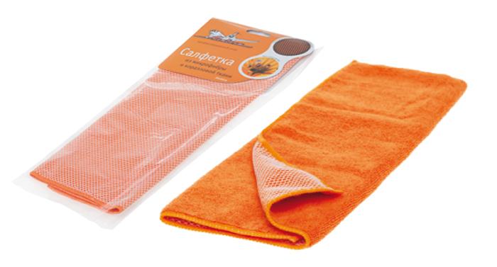 Салфетка из микрофибры и коралловой ткани оранжевая (35*40 см)  (AB-A-04)