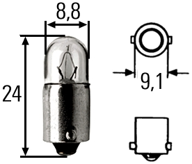 8GP 002 068-121 лампа  2W 12V BA9S галоген\