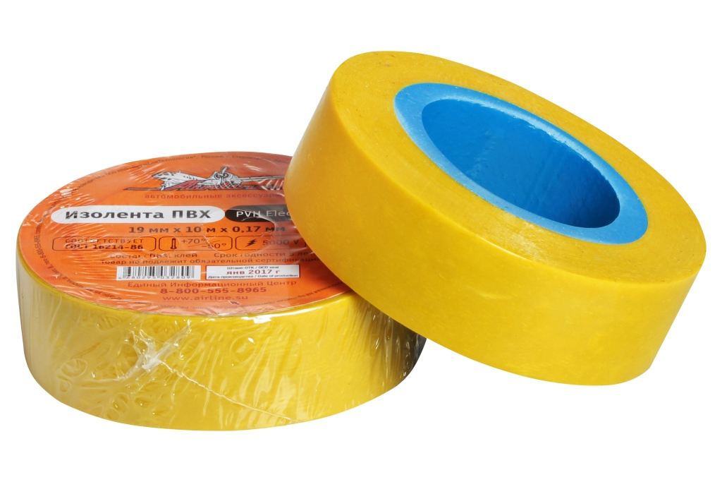Изолента ПВХ, желтая, 19 мм*10 м (AIT-P-16)