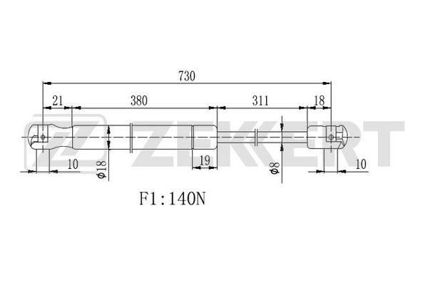 Амортизатор капота Volvo C30, C70 06-, S40, V50 04-