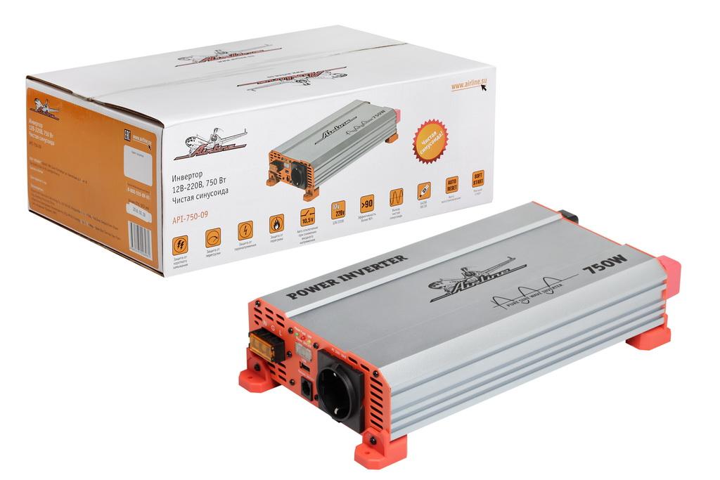 Инвертор 12В-220В  750 Вт чистый синус (API-750-09)