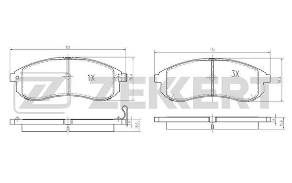 Колодки тормозные передние 151.3*56 MISUBISHI L200 05-