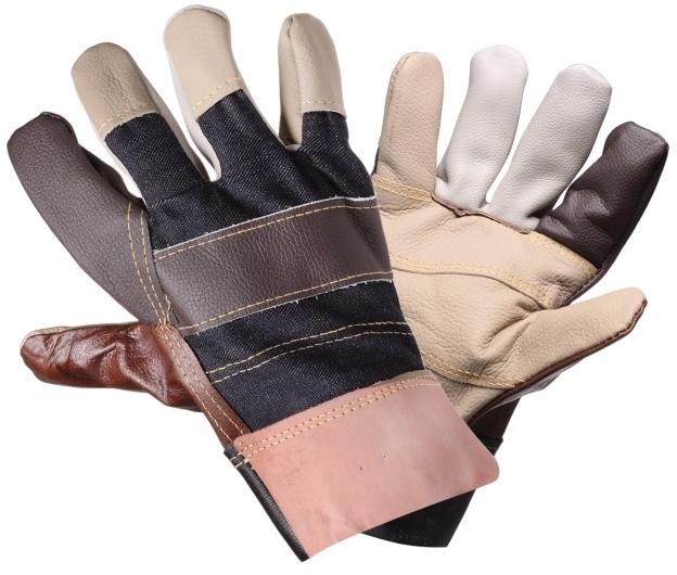 Перчатки комбинированные, натур. кожа/ткань (AWG-S-13)