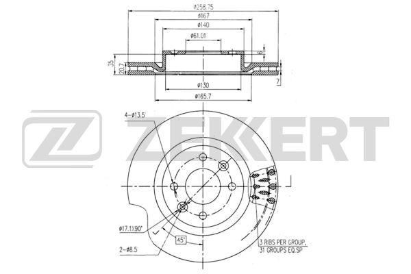 диск тормозной передний 259*21 (вентилируемый) LARGUS/LOGAN/MEGANE/SYMBOL/CLIO II/KANGO