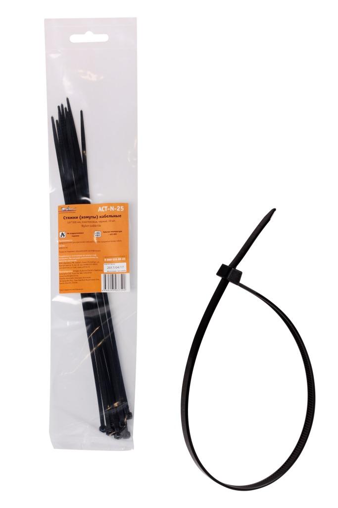 Стяжки (хомуты) кабельные 3,6*300 мм, пластиковые, черные, 10 шт. (ACT-N-25)