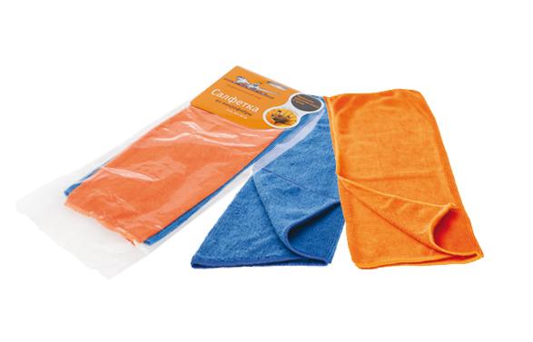 Набор салфеток из микрофибры, синяя и оранжевая (2 шт., 30*30 см) (AB-V-01)