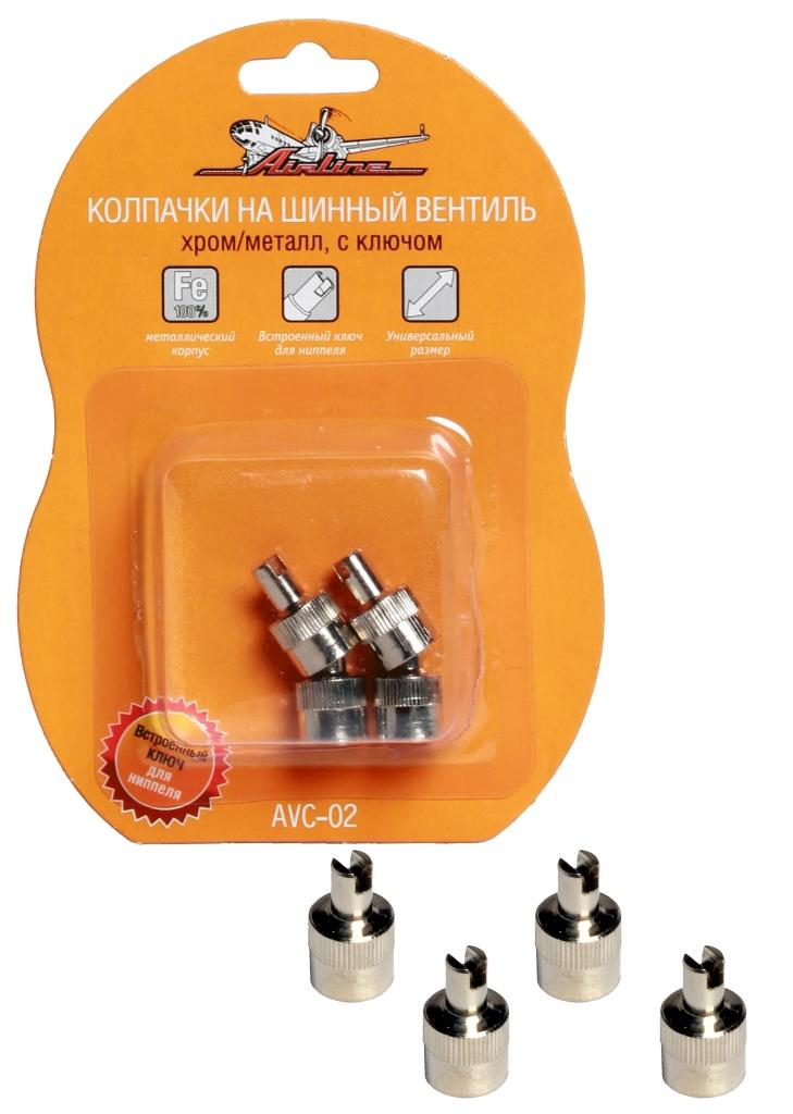 Колпачки на шинный вентиль с ключом, хром, металл, 4 шт. (AVC-02)