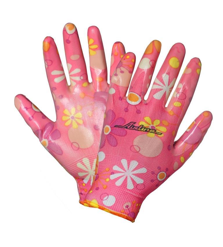 Перчатки нейлоновые женские с цельным полиуретановым покрытием ладони (AWG-NW-09)