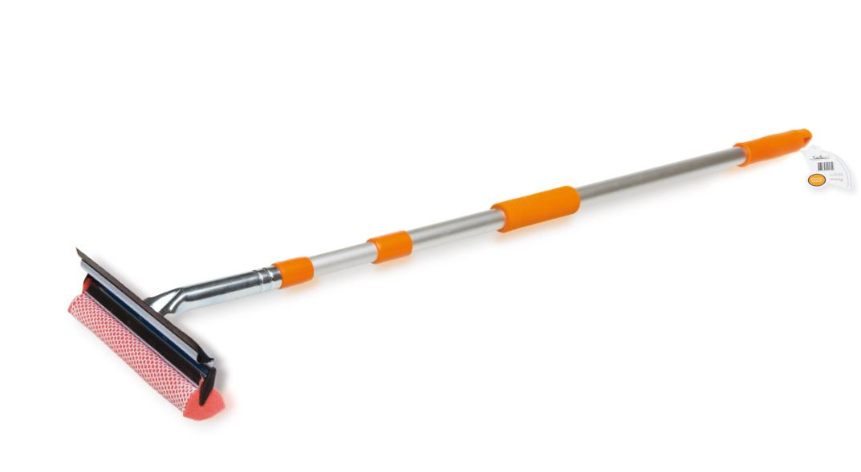 Щетка для мытья стекол с телескопической ручкой, поролоном и водосгоном (90-130 см)  (AB-G-01)
