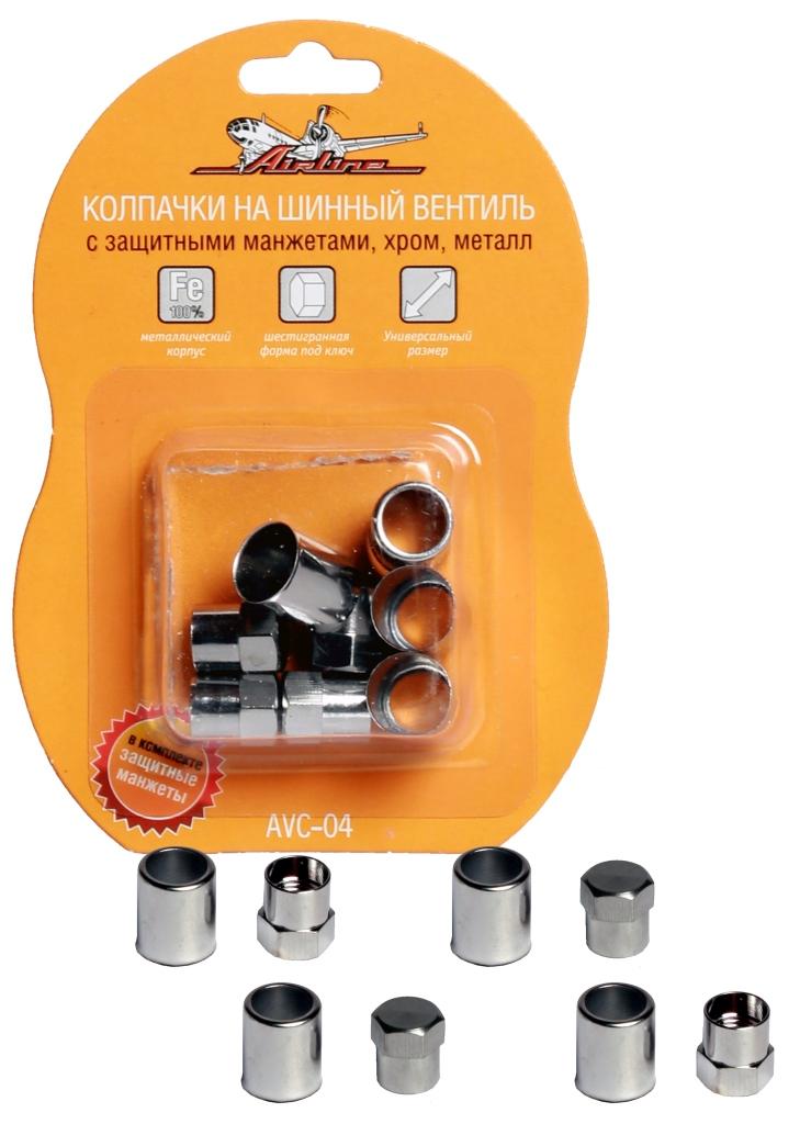 Колпачки на шинный вентиль, с защитными манжетами, 4+4 шт. (AVC-04)