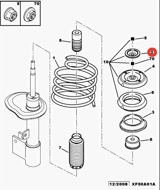 9675124280 чашка амортизатора Citroen/Peugeot 9675124280
