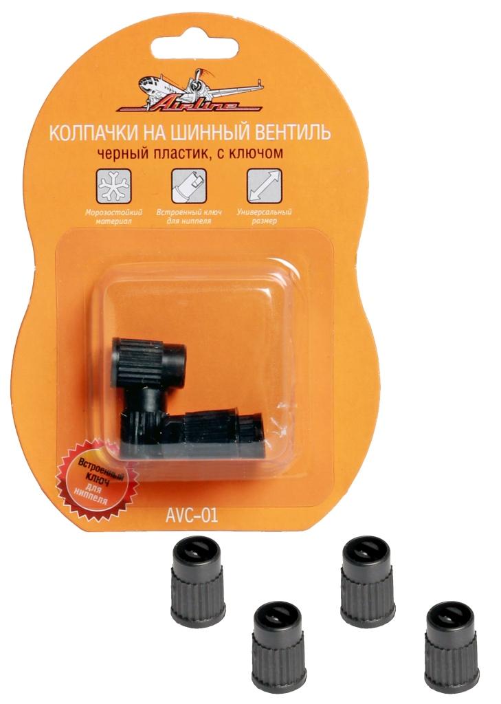 Колпачки на шинный вентиль с ключом, черные, пластик, 4 шт. (AVC-01)